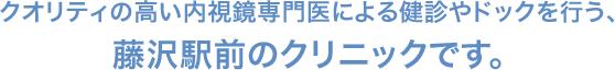 クオリティの高い内視鏡専門医による健診やドックを行う、 藤沢駅前のクリニックです。