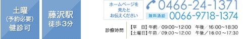 土曜(予約必要)検診可 藤沢駅 徒歩3分 ホームページを見たとお伝えください 0466-24-1371・無料通話 0066-9718-1374